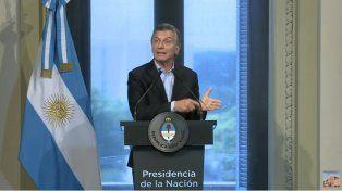 Macri, en conferencia desde Casa Rosada.