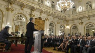Desde el atril. Macri puso como ejemplo de la lentitud judicial la incertidumbre sobre la muerte de Nisman.
