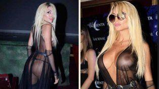 El vestido transparente que lució Vicky Xipolitakis para llegar en limusina al estreno de Moria