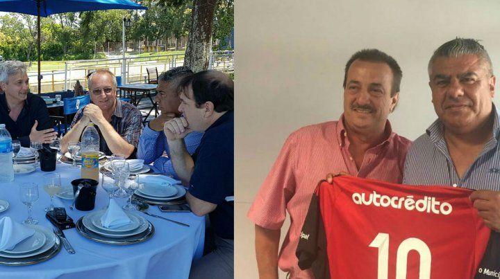 En la ciudad deportiva. Tapia y compañía, junto al vice Ricardo Carloni y el presidente canalla Raúl Broglia. En Bella Vista. El titular de Barracas Central sostiene una camiseta junto al vice leproso Juan Matías.