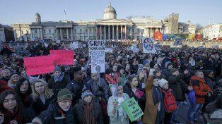 La marcha en contra de Trump en Londres se hizo en la plaza Trafalgar