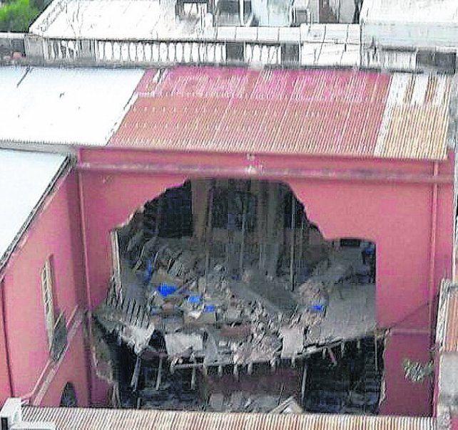 desastre. El domingo se desmoronó un ala entera del histórico edificio.