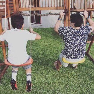 La foto de su hijo y su papá que que publicó Gianinna en Twitter.
