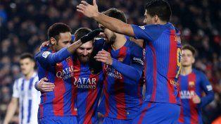 Leo Messi convirtió en el holgado triunfo de Barcelona para acceder a semis de Copa del Rey.