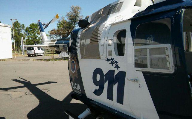 Los patrullajes desde el helicóptero de la Policía provincial.