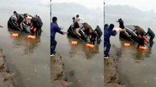 Un hombre arrojó a su bebé por el aire para evitar que se ahogara