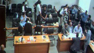 La audiencia. La sala donde se desarrollaron las imputaciones ayer.