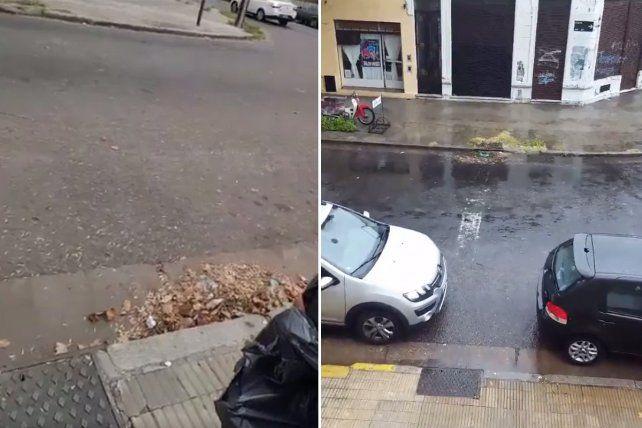 Un usuario rosarino mostró en las redes cómo evitó la inundación de la cuadra de su casa.