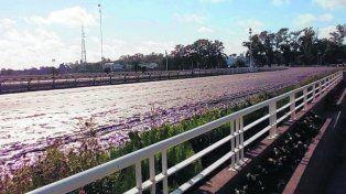 Lodazal. La pista principal sureña sufrió los embates del temporal desatado el pasado domingo.
