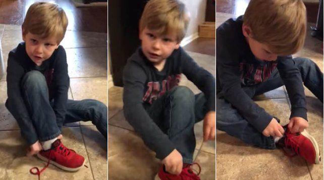 El truco de un chico para atarse los cordones fue filmado en un video que la rompe en Facebook