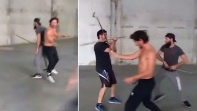 El entrenamiento de Benjamín Vicuña en cuero y con espadas al estilo samurai