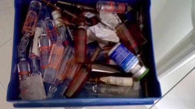 Las ampollas y drogas que la denunciante forografió en en departamento de Palermo.
