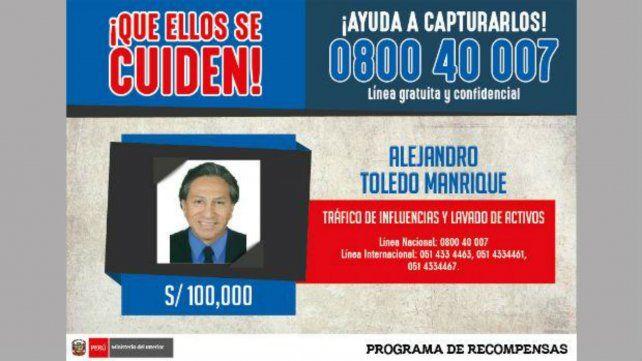 El afiche del Ministerio del Interior peruano con la recompensa por 100.000 soles
