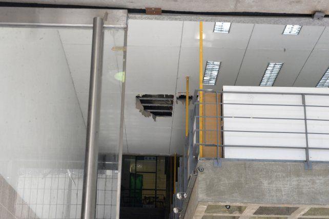 Huellas. Los cielorrasos exponen los problemas que atraviesa el nuevo edificio de la Facultad.