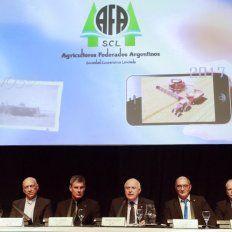 El gobernador Miguel Lifschitz durante el acto de Agricultores Federados Argentinos esta mañana en el Salón Metropolitano.
