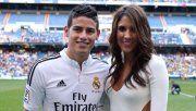 James Rodríguez y Daniela Ospina, en la previa de un encuentro del Real de Madrid.
