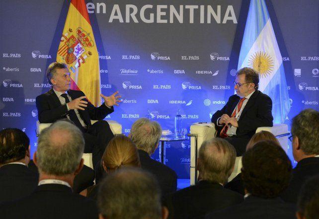 Buscando inversiones. El presidente Macri disertó en un foro empresarial organizado por el Grupo Prisa.