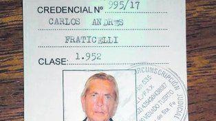 Papeles al día. La credencial otorgada a Fraticelli el 23 de febrero pasado.