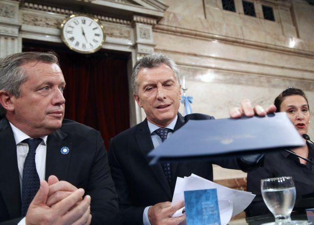 El presidente Macri instantes antes de comenzar su discurso en el Congreso.