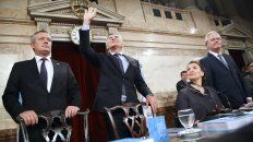 Emilio Monzó, Mauricio Macri, Gabriela Michetti y Federico Pinedo hoy en la apertura de sesiones ordinarias.
