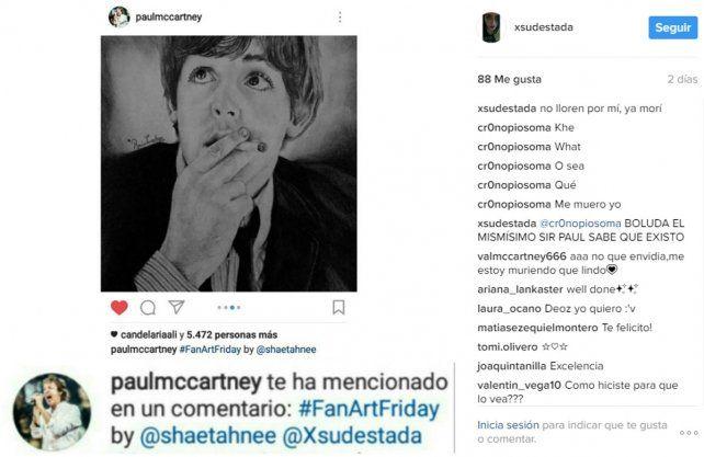 Un mensaje de Instagram del que pocos mortales pueden presumir: paulmccartney te ha mencionado en un comentario.