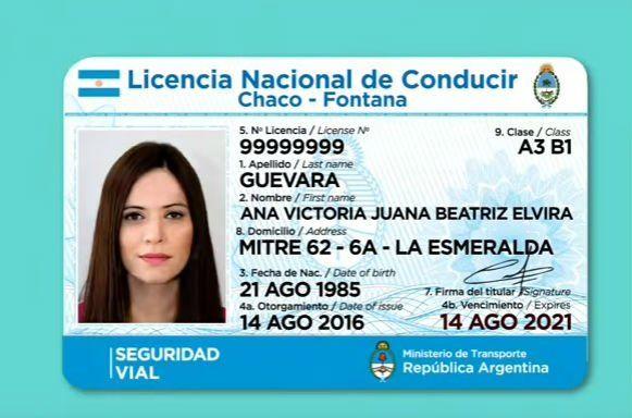 La nueva licencia de conducir que lanzó hoy el gobierno nacional.