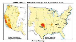 Un mapa de pronóstico de terremotos elaborado por el Servicio Geológico de los Estados Unidos para 2017.
