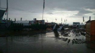 El predio de la ExpoAgro quedó intransitable tras el temporal.