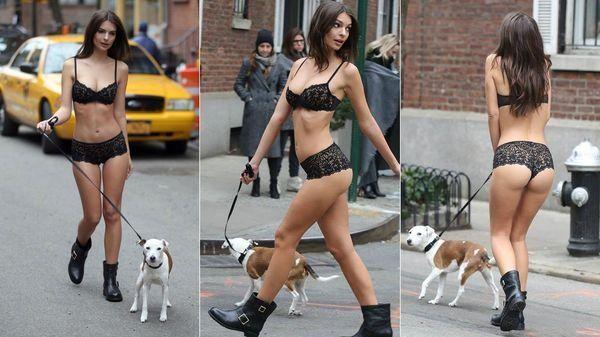 Un ángel de Victorias Secret se paseó semidesnuda por las calles de Nueva York