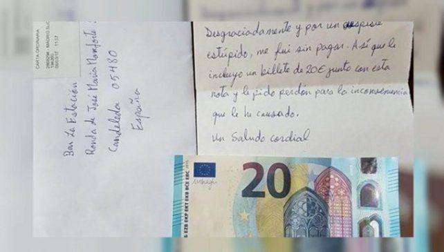 La carta y el billete de 20 euros que mandó el olvidadizo cliente.