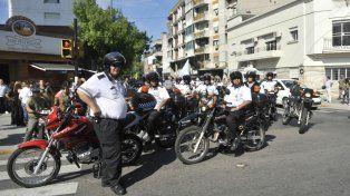 Los agentes de Tránsito participaron de la movilización en el paro municipal.