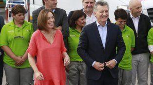 sonrisas. Vidal junto a Macri en el lanzamiento del Same bonaerense.
