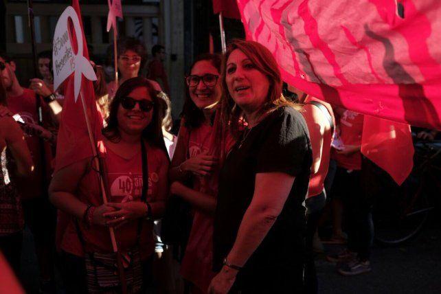 La intendenta Mónica Fein también se sumó a la marcha.