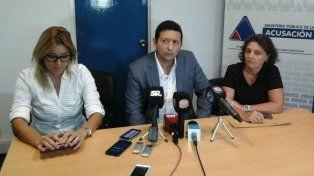 Los fiscales, María Marta Martí, Estanislao Giavedoni y Carolina Parodi.