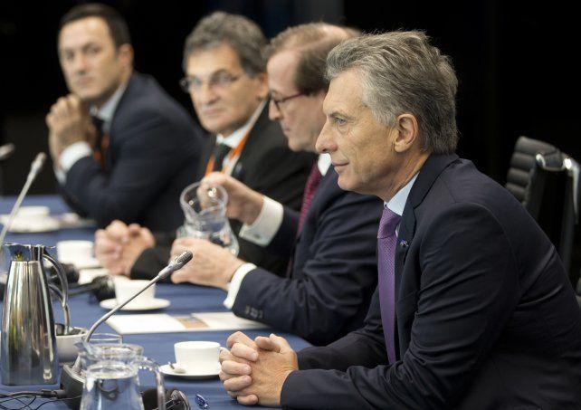 El presidente Macri durante su visita hoy a la Corte Penal Internacional de La Haya.