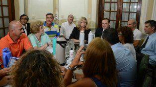 Los ministros Balagué y Genesini durante la última reunión paritaria con los docentes.