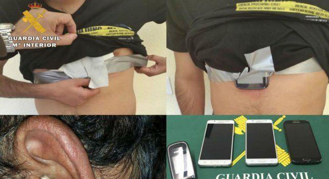 Los dispositivos utilizados por los tres hombres durante el examen para obtener el carné de conductor.