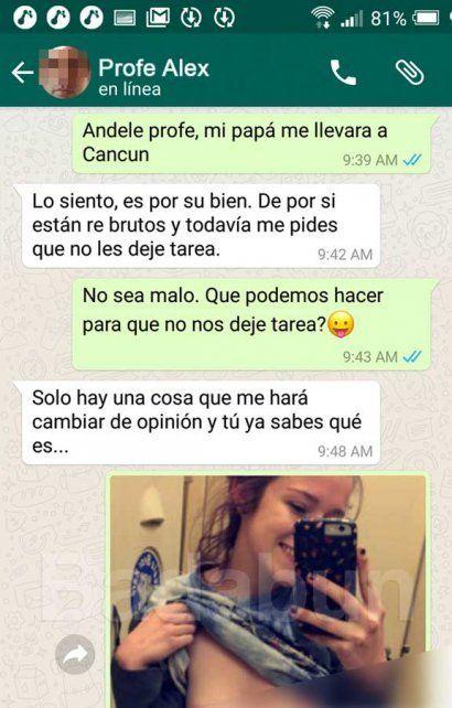 El chat en el que un profesor le pide fotos íntimas a una alumna para no darle tarea para Semana Santa