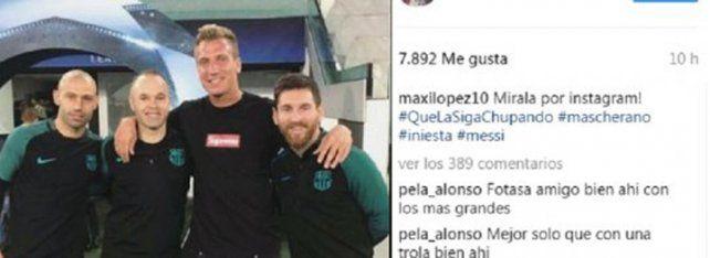Maxi López subió una foto con Messi con un irónico mensaje a Icardi pero después lo borró