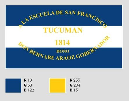 azul de ultramar. Réplica de la bandera investigada en Tucumán.