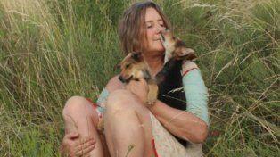 Verónica Llinás al momento de filmar la mujer de los perros.