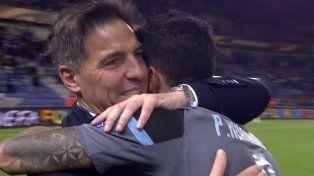 La celebración de Berizzo luego de la histórica clasificación de Celta a semifinales de la Europa League.