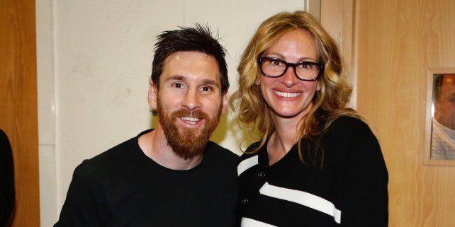 Messi conoció a la actriz Julia Roberts y manifestó su alegría en las redes sociales