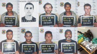 Arrestados. El retrato de los detenidos presentado ayer por la policía de Foz de Iguazú en conferencia de prensa.