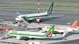 ¿Sin futuro? Aviones de Alitalia en la terminal romana de Fiumicino.