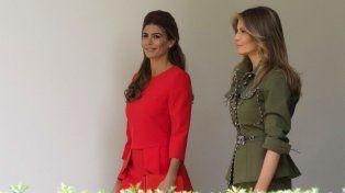 Las primeras damas de ambos países caminaron juntas en la Casa Blanca.