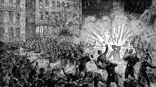 Mayo de 1886. Grabado que muestra la explosión en la Revuelta de Haymarket.