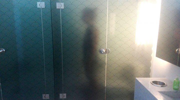 Silueta. El cuerpo de un hombre que ayer ingresó al baño intervenido del Castagnino. Tiene un vidrio ploteado semitransparente que generó debate.