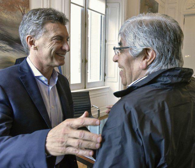 Gestos. Macri y Moyano