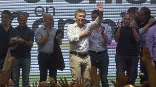 El presidente Macri en el acto por el Día de los Trabajadores.